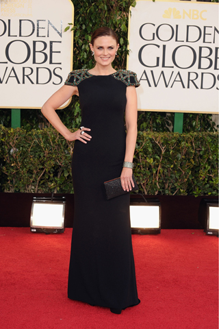 Emily Deschanel, in Badgley Mischka