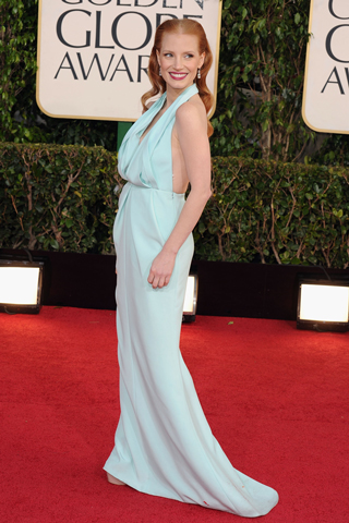 Jessica Chastain, in custom Calvin Klein Collection