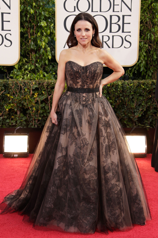 Julia Louis-Dreyfus, in custom Vera Wang