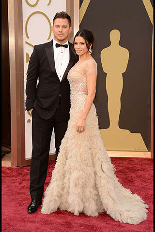 Channing Tatum, in Gucci, and Jenna Dewan-Tatum, in Reem Acra