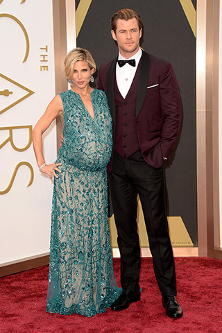 Elsa Pataky, in Elie Saab, and Chris Hemsworth, in David August