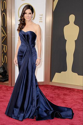 Sandra Bullock, in Alexander McQueen