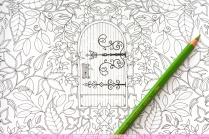 Krāsojamā grāmata pieaugušajiem. Džoanna Basforda - Pasakainais dārzs (Secret Garden) - durvis
