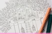 Krāsojamā grāmata pieaugušajiem. Džoanna Basforda - Pasakainais dārzs (Secret Garden) - māja kokā